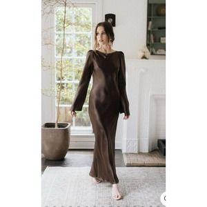 Stone Cold Fox Frankie Brown Silk Slip Dress